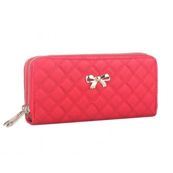 Bow double purse red