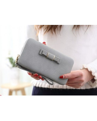 Bow purse grey