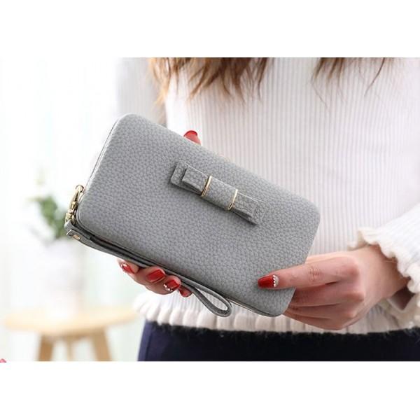 Bow purse grey