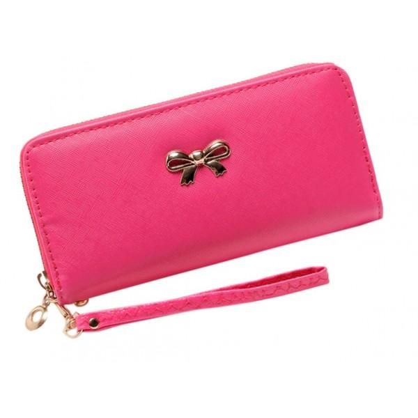 Saffiano Bow purse fuchsia