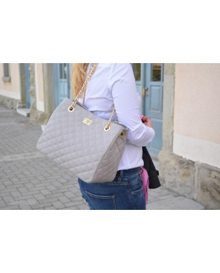 Christina Quilted Leather Bag Light Grey