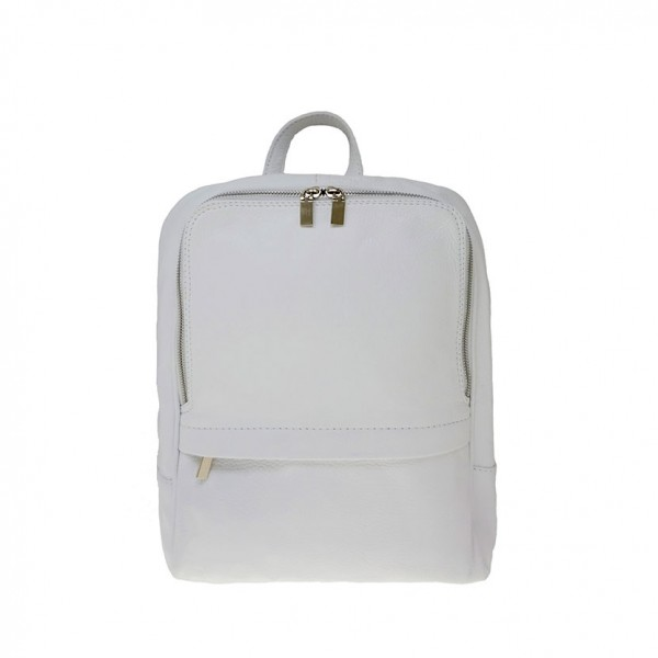 Betta Leather Backpack White