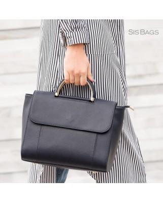 Melissa Leather Shoulder Bag Black
