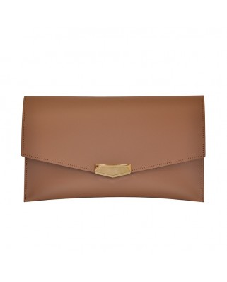 Leather Envelope Clutch Praline