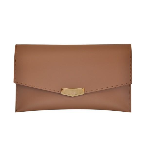 Leather Envelope Clutch Praline