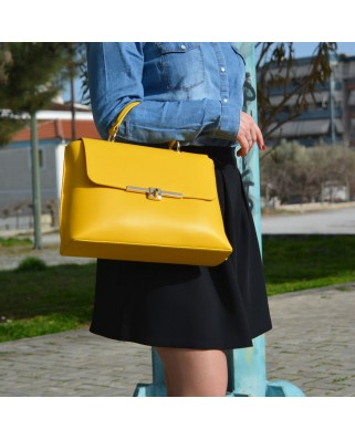 Maya Leather Shoulder Bag Yellow