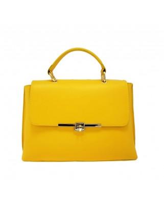 Δερμάτινη τσάντα ώμου χειρός Maya Κίτρινη