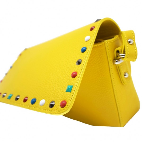 Helena Leather Shoulder Bag With Studs Yellow