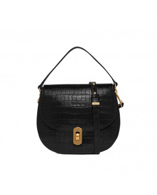 Zaniah Crocodile Print Shoulder Bag Black
