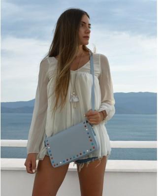 Δερμάτινη τσάντα ώμου με τρουκς Helena