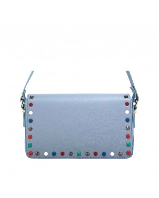 Helena Leather Shoulder Bag With Studs Light Blue