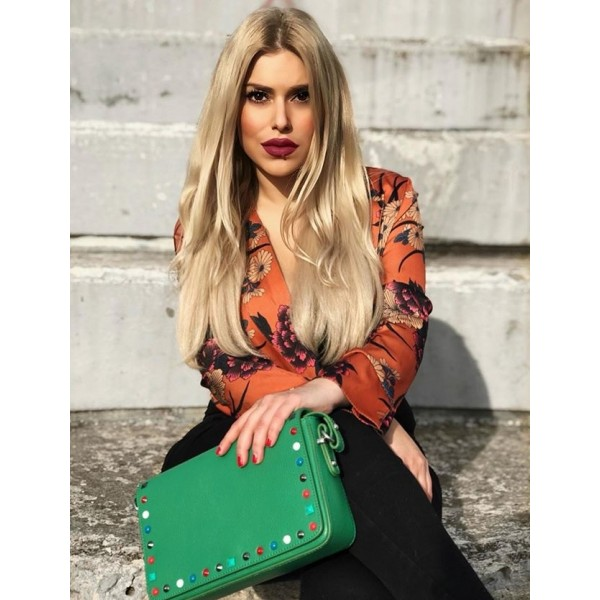 Helena Leather Shoulder Bag With Studs Green