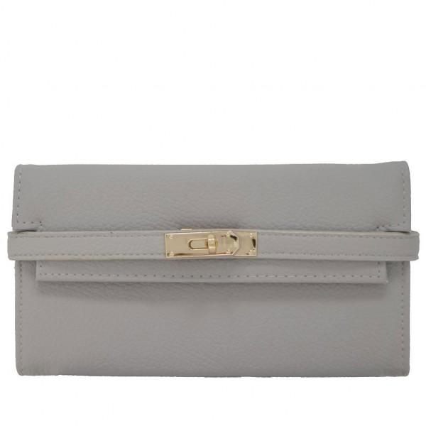Leather Ribbon Purse grey