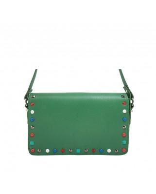 Δερμάτινη τσάντα ώμου με τρουκς Helena Πράσινη
