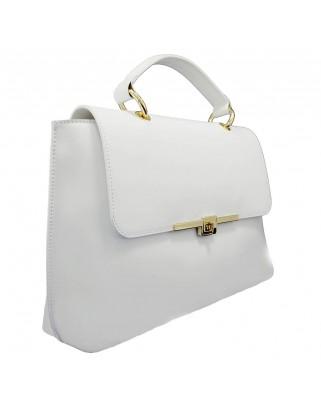 Maya Leather Shoulder Bag White