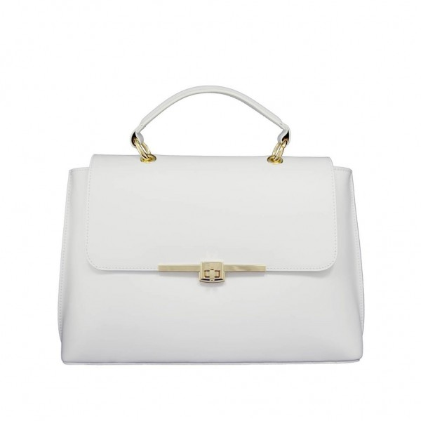 Maya Leather Shoulder Bag White