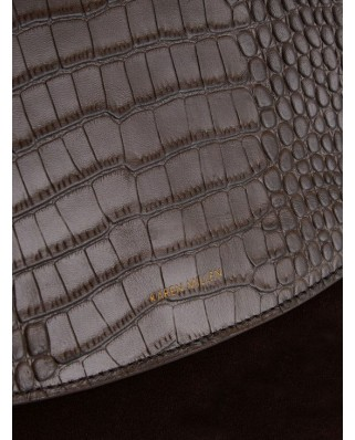 Leather Chain  Regent Croc Bag Brown