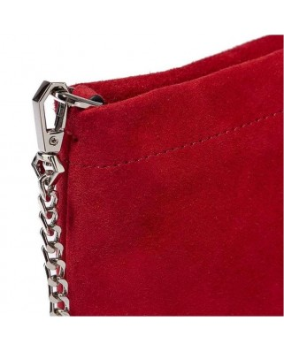 Suede Brompton Clutch Bag Red