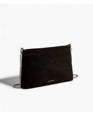 Suede Brompton Clutch Bag Black