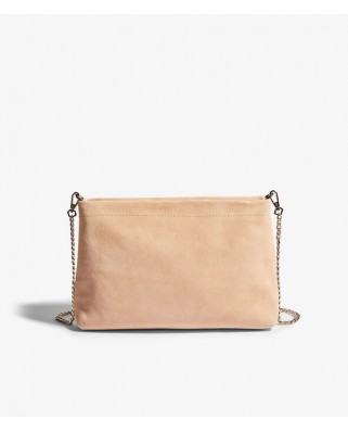 Suede Brompton Clutch Bag Natural