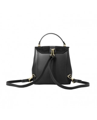 Olivia Leather and Suede Backpack Black