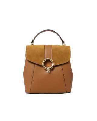 Olivia Leather and Suede Backpack Tabac
