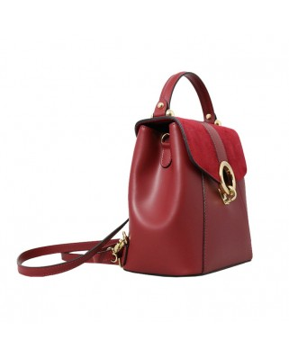 Olivia Leather and Suede Backpack Red