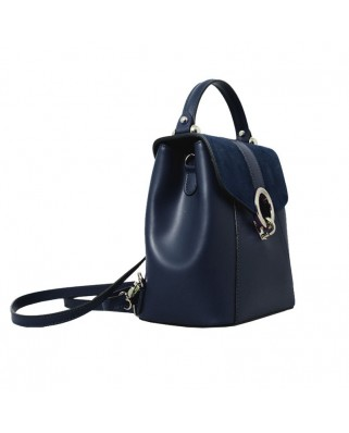 Olivia Leather and Suede Backpack Blue