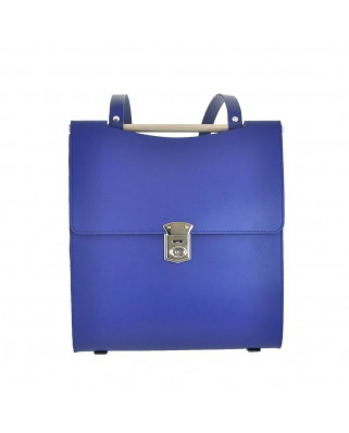 Old School Leather Backpack Blue