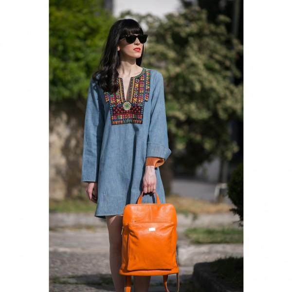 Patrizia Leather Backpack orange