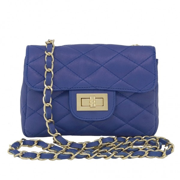 Petra Quilted Leather Shoulder Bag blue