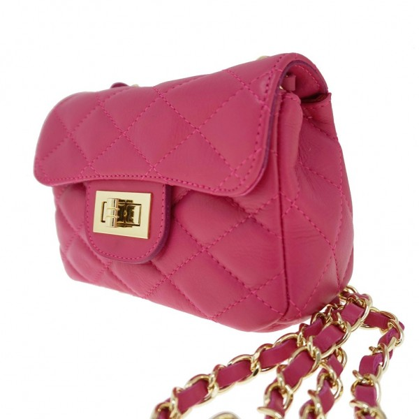 Petra Quilted Leather Shoulder Bag fuchsia