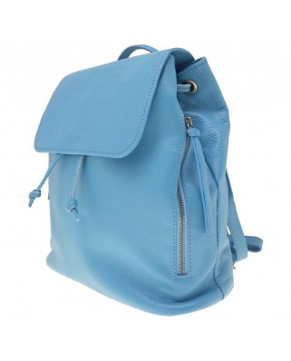 Zelinda Leather Backpack light blue