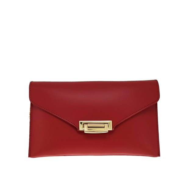 Leather Envelope Clutch Red