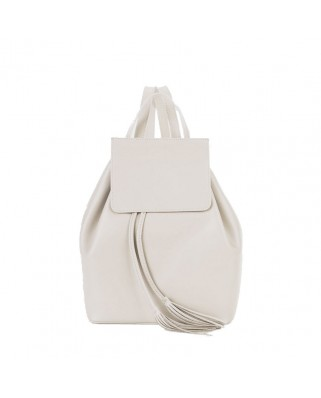 Angie Leather Backpack White