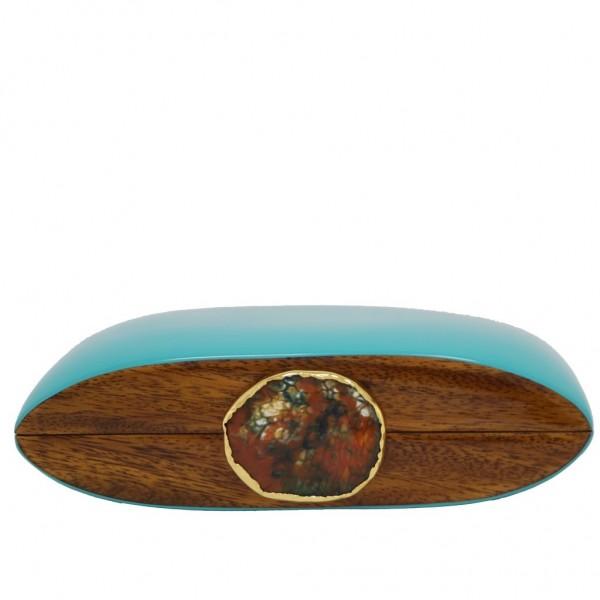 Wooden Bag Iconic Stones Aqua Green