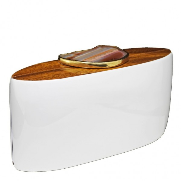 Wooden Bag Iconic Stones White