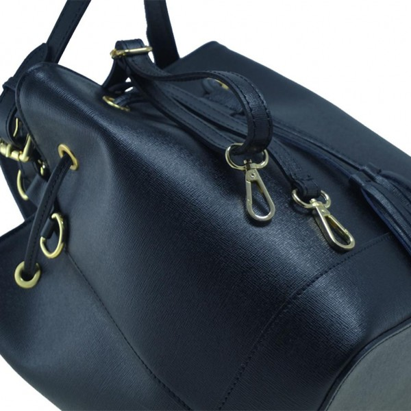 Δερμάτινη τσάντα ώμου Graziella μαύρη