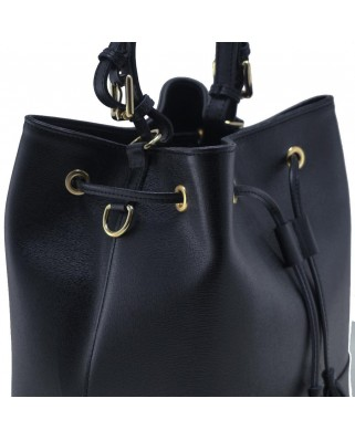 Nora Leather Bucket Black