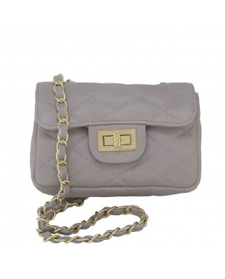 Petra Quilted Leather Shoulder Bag grey