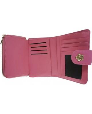 Γυναικείο δερμάτινο πορτοφόλι rose, ροζ