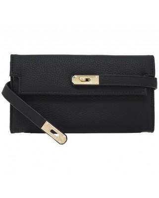 Leather Ribbon Purse black