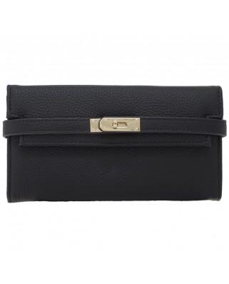 Γυναικείο δερμάτινο πορτοφόλι, μαύρο