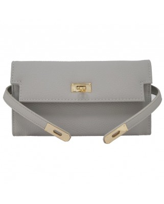 Leather Ribbon Purse grey