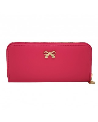 Saffiano Bow purse fuchsia