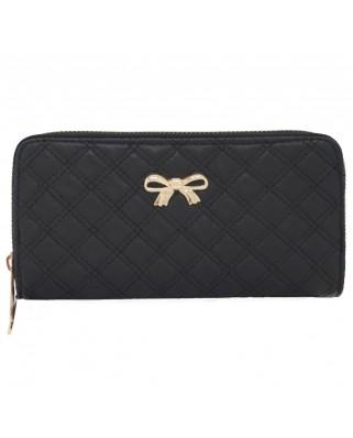 Γυναικείο πορτοφόλι καπιτονέ με φιογκάκι μαύρο