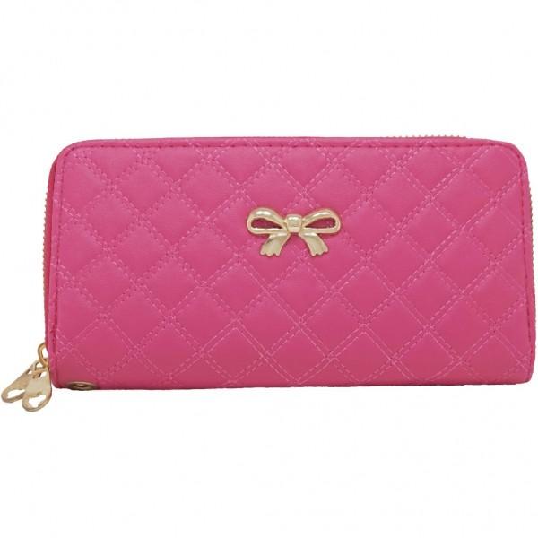 Bow double purse fuchsia