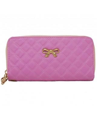 Γυναικείο πορτοφόλι καπιτονέ με φιογκάκι ροζ