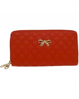 Γυναικείο πορτοφόλι καπιτονέ με φιογκάκι κόκκινο