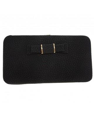 Γυναικείο πορτοφόλι με φιογκάκι μαύρο